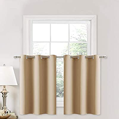 Amazon Com Nicetown Small Kitchen Windows Curtains Blackout Functional Thermal Insulated Window Treatment Curtains Drapes Valances Biscotti Beige 2 Panels 42w By 36l 1 2 Inches Header Home Kitchen