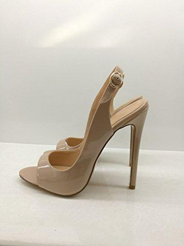 Beige Chaussures 45 35 Peep Stiletto Edefs toe Taille Parti Sandales Femmes 12cm Escarpins n4wA71qp