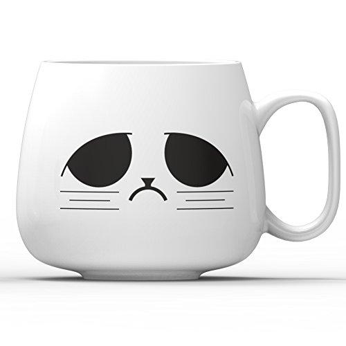 Asmwo 14-OZ White Ceramic Cute Funny Cool Gift Grumpy Mug for Coffee Maker