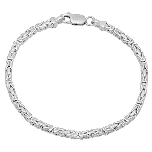 Polished 925 Sterling Silver Italian Crafted 3.3mm Square Byzantine Bracelet, 8 Inch + Bonus Cloth Byzantine Italian