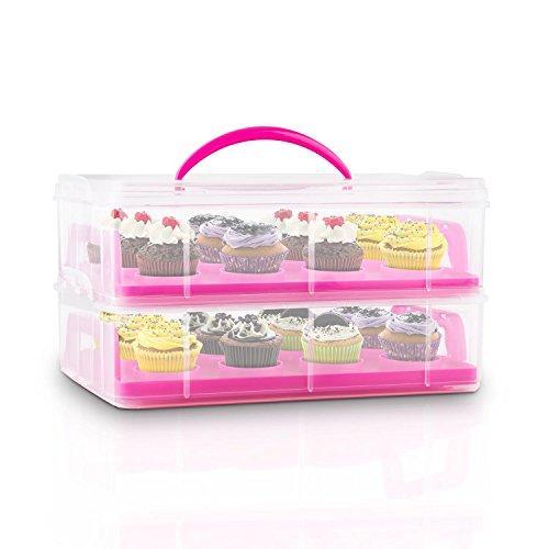 Klarstein USS Blue Cookie Kuchentransportbehälter tragbarer Tortenbuttler Kuchenbehälter für Mini-Kuchen, Torten, Muffins, Cookies und andere Lebensmittel (2 Etagen-Transportbox, mit Henkel, 2 Einleger) rosa