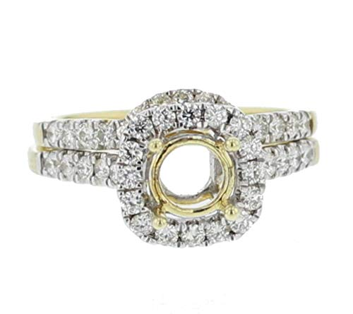 Midwest Jewellery 14K Gold Semi Mount Wedding Ring Set Halo Style Fits 1ct Round Solitaire 0.72ct Side Diamonds