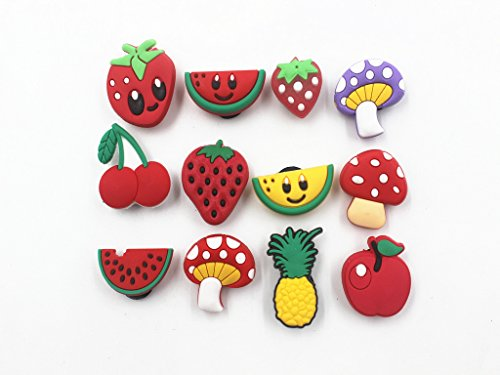 12pcs Cute Fruit shoe charms Fits for Croc Shoes & Wristband Bracelet Party (Cute Shoes Under 10 Dollars)