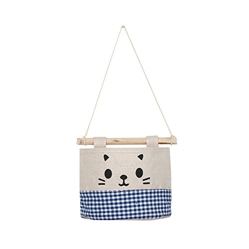 Ktyssp New Cotton Cartoon Cat Hanging Storage Bag Debris Pouch Wall Combination Packet (D) (Autumn Furniture)