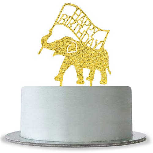 Gold Happy Birthday Cake Topper, Animal Elephant Theme Birthday Party Decorations Supplies, Baby Shower Sign, 1st Birthday Cake Topper ()