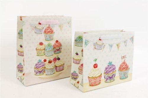 Bunting Wrap (Vintage Shabby Chic Cupcake Stand Bunting Design Party Present Gift Bag Wrap With Tag)