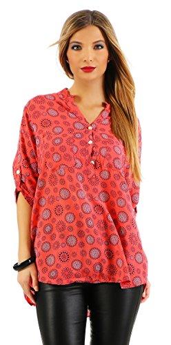 t manches chemise lgre en blouse Viskosebluse shirt motif Fischer manches mandala longues beau forme longues ZARMEXX rgulire tunique d't saumon 4q5C6C