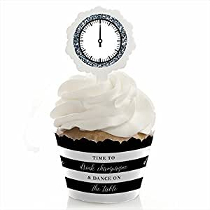 New Year's Eve - Silver - Cupcake Wrapper & Cupcake Pick New Years Eve Party Kit - Set of 24
