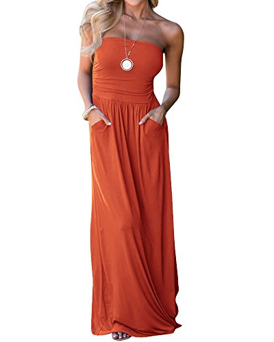 Yobecho Solid Colors Sundress Cover up Tube Top Sleeveless Casual Dress Long Maxi Dress with Pockets (X-Large, (Ruched Pocket Short)