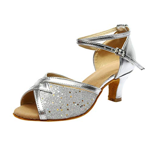 ERLOU Spring-Summer Women Ladies Solid Rumba Waltz Latin Salsa Dance High-Heel Sandals Slippers Casual Shoes Fashion 2019❤ (Silver, 6)