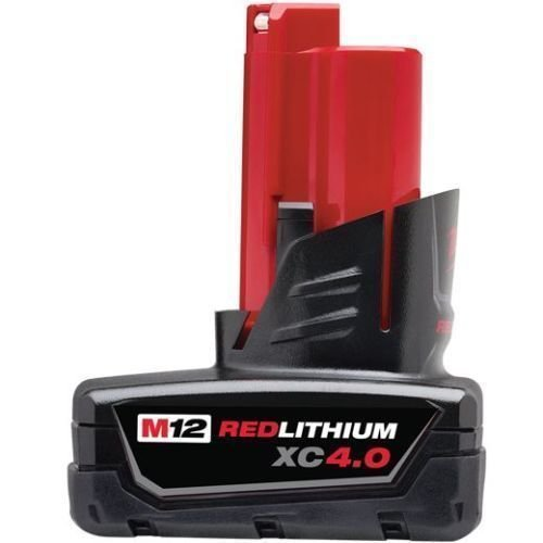 (Genuine Milwaukee 48-11-2440 New M12 12v Red Lithium XC 4.0 Ah Battery )