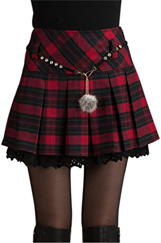 chouyatou Women's A-Line Plaid Wool Blend Pleated Skirt Side Zipper (X-Large, Red)