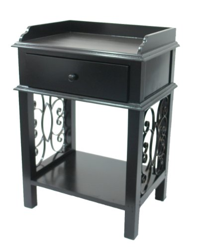 Iron Top Scroll - Urbanest American Country End Side Table with Drawer, Tray Top and Scroll Iron Sides