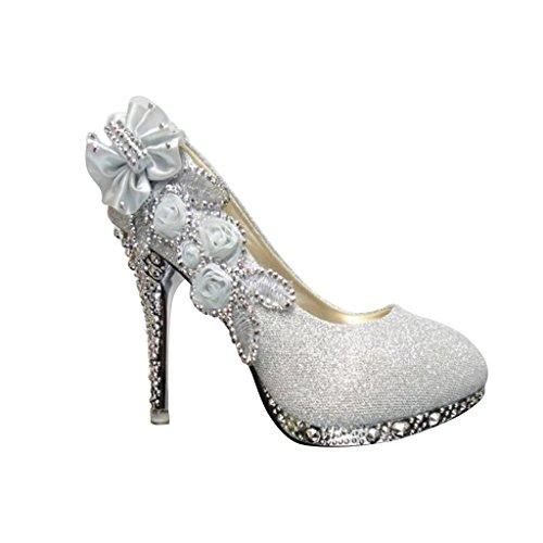 68a05e878192c Wotefusi Women 3D Flowers Rhinestone Bling Wedding Party Club Bride  Bridesmaid High Heels Shoes Stiletto - Buy Online in Oman.