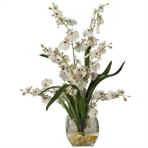 Dancing Lady Orchid Liquid Illusion Silk Flower Arrangement White