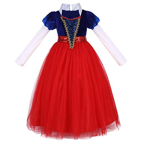 Snow White Costume Princess Dress Fancy Dress Up Cosplay Halloween Christmas Birthday Party Outfit Floor Length Long Sleeve Dresses Evening Prom Ball Gown Red 12-13 Years -