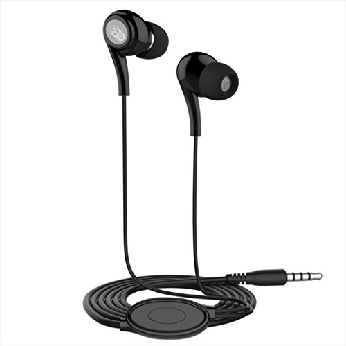 Price comparison product image AutumnFall Universal 3.5mm In-Ear Stereo Earbuds Earphone with Mic for Cell Phone (Black)