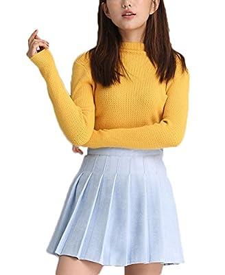 Soojun Women's Fashion Pleated Suede Mini Flared Skater Skirt