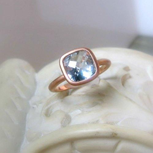 Aquamarine 14K Rose Gold Ring, Size 6, Cushion Cut 8mm Gemstone, Matte (Cushion Cut Aquamarine Ring)
