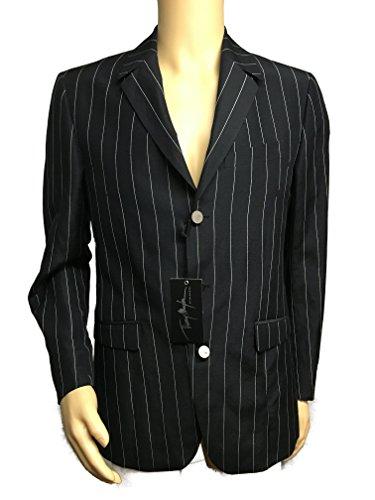 Thierry Mugler Paris Men's Designer Outerwear Casual Jacket Blazer (48R-EU 38R-USA, Black Pin Stripe) -