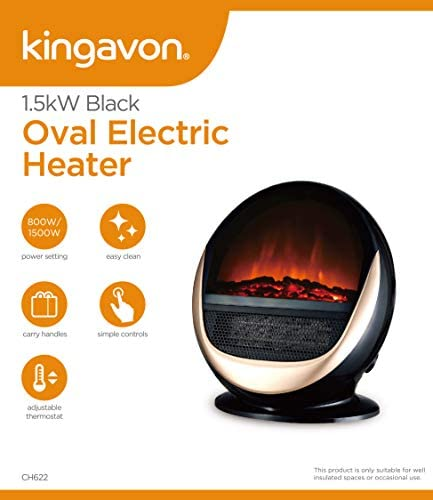 Kingavon BB-CH622 1.5 Kw Black Oval Electric Heater, Plastic, 1500 W