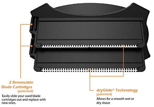 baKblade 2.0 Plus – Back Shaver for Men (DIY), Ergonomic Handle, Shave Wet or Dry (Extra Blades Included)