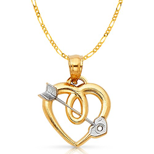 14K Two Tone Gold Heart With Cupid Arrow Charm Pendant with 2mm Figaro 3+1 Chain Necklace - 18