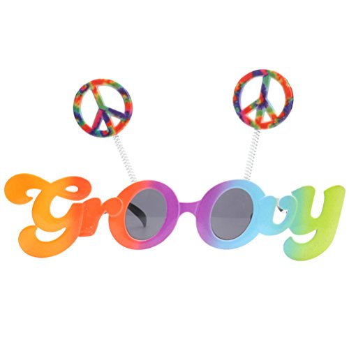 OULII Novelty Groovy Sunglasses Peace Signs Funny Glasses Costume With Grey Lenses for Party Cosplay - Vivid Sunglasses