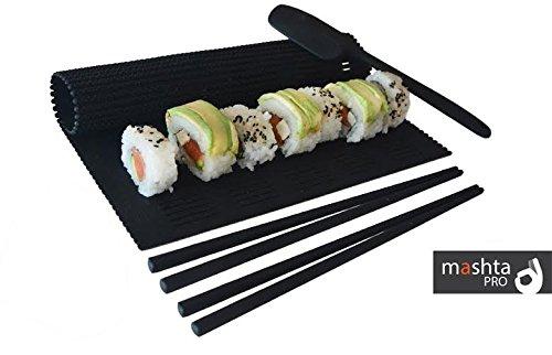 Mashta Sushi Making Kit Non Stick Silicone -Sushi Maker, Spatula and 2 Chopsticks Included, Black by Mashta