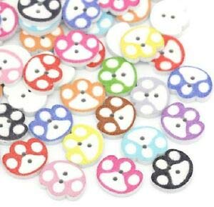 (JumpingLight PAW Print 2-Hole White Wood Buttons 5/8