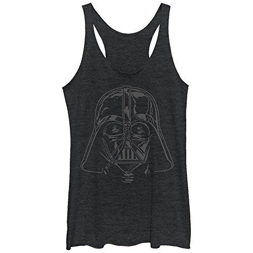 Star Wars Women's Darth Vader Helmet Black Heather Racerback Tank Top -