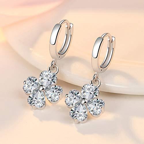 B745 925 Sterling Silver Crystal Rhinestone Heart Love Ear Stud Earrings Lady Ne