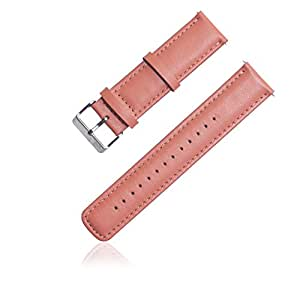 Lucco Watchband Leather Strap Replacement Watch Band for Samsung Galaxy Gear 2 Neo R380 R381 R382 Smart Watch Also for Lg G Watch Smart Phone (Pink)