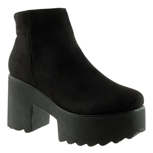 Angkorly Women's Fashion Shoes Ankle boots - Booty - platform - cavalier - biker Block high heel 9 CM Black