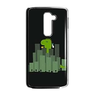 LG G2 Cell Phone Case Black Cute Dinosaur Wandering In Cities ISU417171