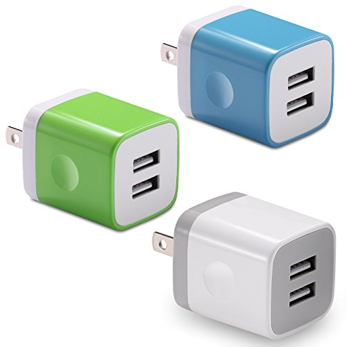 USB Wall Charger, BEST4ONE 2.1A/5V Dual Port USB Plug Power Adapter Charging Block for iPhone XS/Max / XR/X 8/7/6 Plus SE/5S, Samsung, Google Pixel XL, LG, Android Cell Phone (3-Pack)