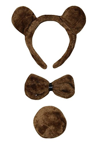 Petitebella Headband Bowtie Tail Unisex Children 3pc Costume (Brown Bear) ()