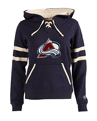 NHL Colorado Avalanche Women's Grant Lace-Up Hoodie, Medium, Navy