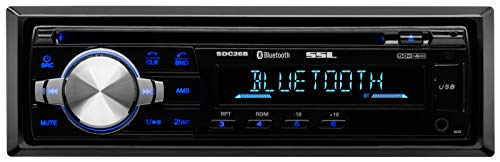 (Sound Storm SDC26B Car Stereo CD Player – Single Din, Bluetooth Audio and Hands-Free Calling, MP3 Player, CD, USB Port, AUX Input, AM/FM Radio Receiver)