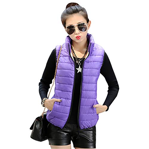 Womens Collar Jacket Body Up Zip Down Color Vest Vest Purple Solid Jacket BOZEVON Warmers Stand Gilet Coat qgwqCd
