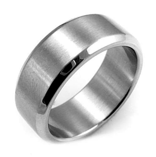 Campton 8mm Stainless Steel Ring Man Women Jewelry Band Black Silver Gold Blue Size 6-14 | Model RNG - 12305 | 12
