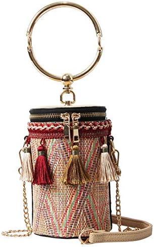 ハンドバッグ - 新しいわら袋、タッセルバケットバッグ、エスニックスタイルのミニハンドバッグ、ファッションのショルダーバッグ、ラップトップメッセンジャーバッグ よくできた