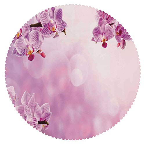 Durable Round Tablecloth [ Spa Decor,Wild Orchid Petals in Monochrome Design Bouquet Spring Bloom Seedling Growth Peaceful Nature Print,Pink ] Decorative Tablecloth Ideas by iPrint