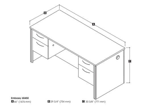 Embassy Executive Desk with Dual Half Peds Cappuccino ()