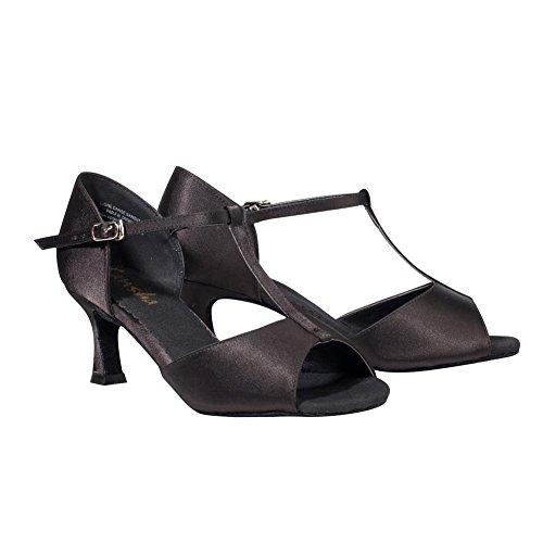 (SANSHA Adult Black Satin Upper T-Bar Heeled Lavinia Ballroom Shoes Womens 13)