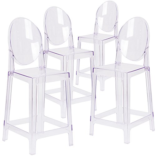 Flash Furniture 4 Pk. Ghost Counter Stool with Oval Back in Transparent Crystal