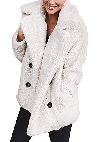Adogirl Women Winter Warm Open Front Fleece Outwear Jacket Coat Pockets White XXXL (Button Fur Front Jacket)