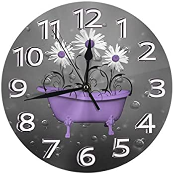 Yanghl Purple Gray Daisy Flowers Bubbles Print Round Wall Clock Decorative, 9.8 Inch Silent Non Ticking Home Office School Decorative Clock Art