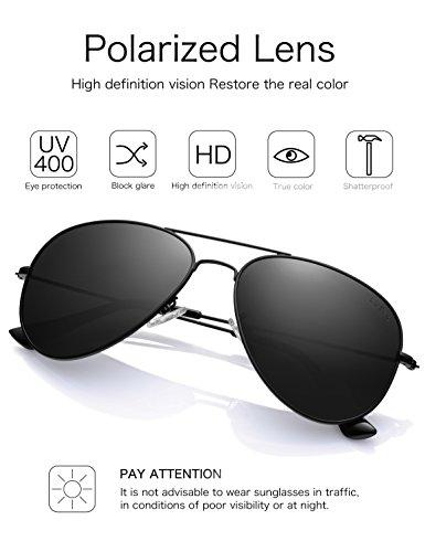 45ae28d42c LUENX Aviator Sunglasses Mens Womens Polarized with Case - UV 400 Non  Mirror Black Lens Black ...