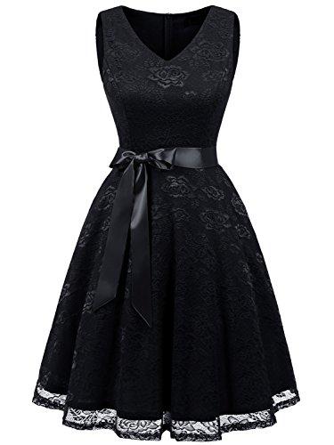 IVNIS RS90025 Women's Short Bridesmaid Dress V Neck Vintage Floral Lace Swing Cocktail Dress Black 2XL